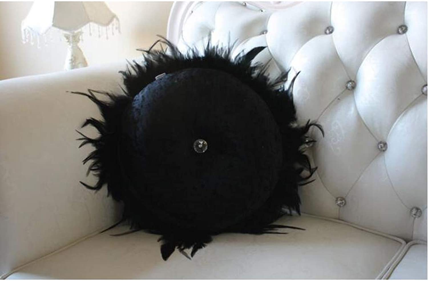 QYSZYG Pillow Round Feather Diamond Buckle Solid color Sofa Pillow Home Cushion Beautiful and Comfortable, White Black Pillow (color   Black)