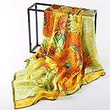 ZYQDRZ Pintura al óleo Seda Bufanda, Bufanda Cuadrada Grande para Las Mujeres, la Bufanda de Seda de Chal de 90 × 90 cm de la Madre,A