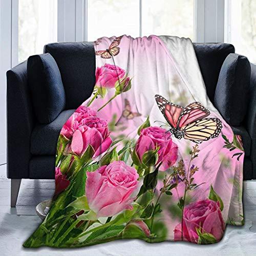 Yonjiq Pink Flowers Butterflies Zen Floral Sherpa Fleece Blanket Twin Size Plush Blanket Fuzzy Soft Throw Blanket Microfiber 50' x40