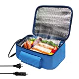 Mini Portable Oven Heated lunch box(12V and 110V Dual Use) Heating hamburger lunch and other food warming tote,Lunch Box for Office, Travel, Potlucks, and Home Kitchen- Blue