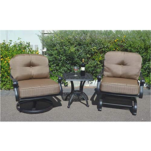 3 Piece Bistro Set Outdoor Elisabeth Club Rocker - Spring Base Swivel Chairs and 1 End Table Cast Aluminum Furniture