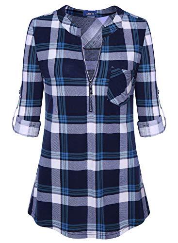 Amrto Damen V-Ausschnitt Kariert Bluse 3/4 Ärmel Reißverschluss Tunika Casual Langshirt Hemd T-Shirt Tops, Blau Kariert Medium