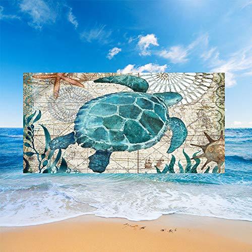 Fansu Toallas de Playa Microfibra Grandes, Oceano Animal Impresión Toallas de Playa Compacto Ligera Blando Verano Manta de Playa para Viaje Playa Nadar (Azul Alga,150x180cm)