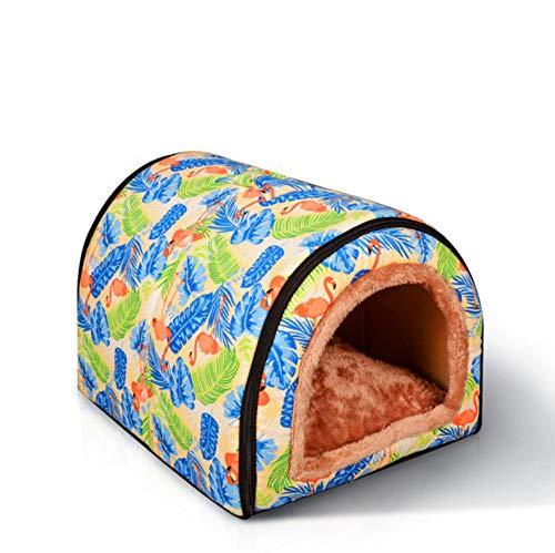 Dengjiam Caseta de Perro y Cathousepet Casa de Perro Plegable y Desmontable Soft Cat Puppy House Lavable Cute Animal Rabbit Cave Suministros para Mascotas 58 * 43 * 40