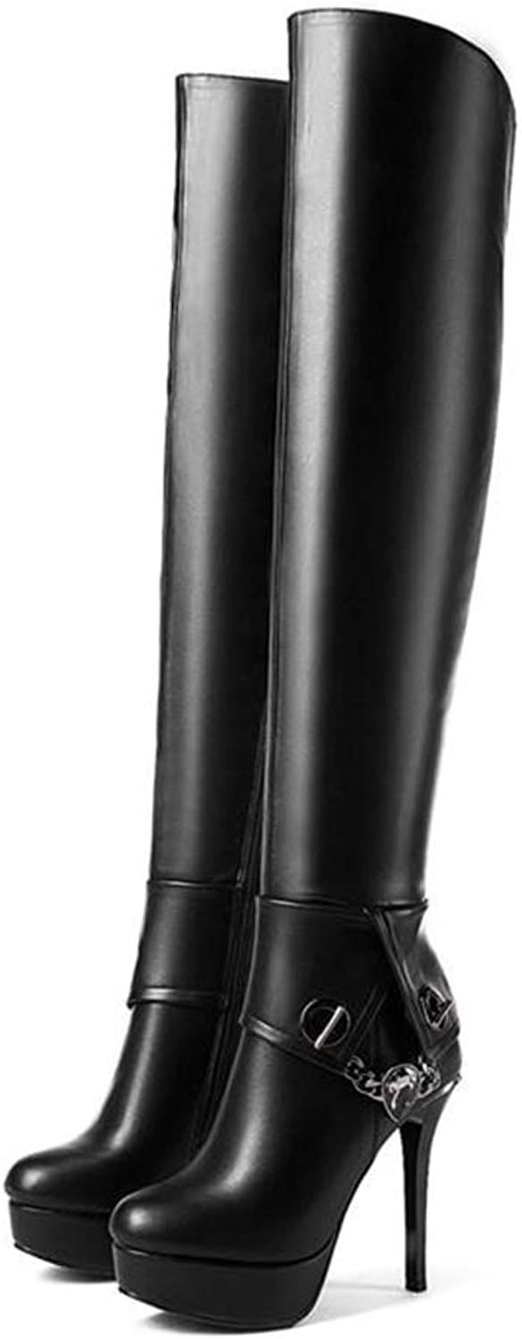 Women's shoes Thigh High Boots Woman Side Zipper Winter Boots Simple Over The Knee Round Toe Boots