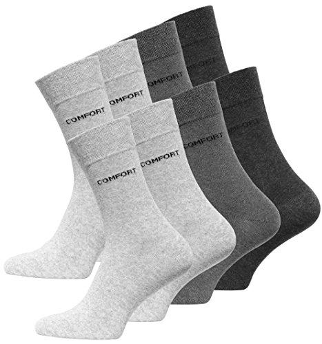 VCA 8 Paar Herren COMFORT Socken in Grau, Ohne Gummib&, Baumwolle mit Elasthan (43/46, Grau) - Cottonprime