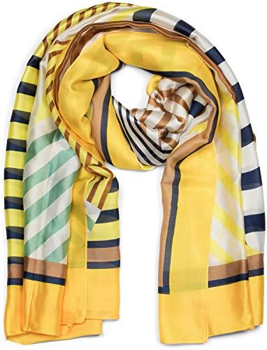 styleBREAKER Dames sjaal licht en zijdeachtig met gestreepte geometrische vlakken, lente-zomer stola, halsdoek, sjaal 01016198