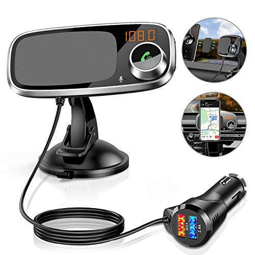 Transmetteur FM Bluetooth avec Support Téléphone, 3 en 1 Kit Bluetooth FM Adaptateur...