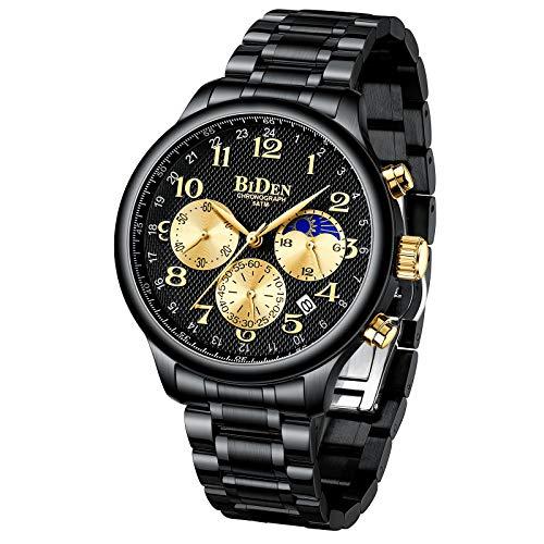 Moon Fase Watch 43mm Reloj para Hombres cronógrafo Impermeable analógico Reloj de Pulsera Reloj de Pulsera (Oro Negro)