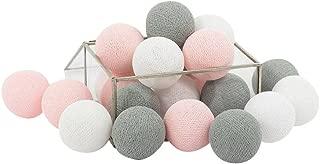 CHAINUPON 20 Cotton Ball String Fairy Night Lights Kid Bedroom,Home,Decor,Boys Girls Plug in Lights (Gray Pink)