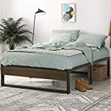 SHA CERLIN Full Size Platform Bed Frame, 14 Inch Metal Bed Frame with Storage, Mattress Foundation with Rustic Wood, No Box Spring Needed, Easy Assembly