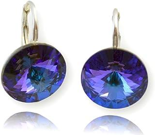 Swarovski /® Elements originaux Crystals /& Stones parure de bijoux /« Rivoli /» avec /étui boucles doreilles et pendentif avec cha/îne en argent 925 quartz fum/é
