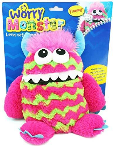 TOYLAND El Juguete Infantil de Peluche Suave Monster Soft de Worry Kids se Come la Boca Worry Notes Sleep Companion Fluffy Fur with Troll Hair Pink & Green