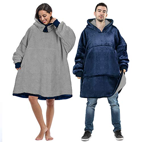 Oversized Wearable Blanket Sweatshirt Sherpa Giant Hoodie Two-Tone Color