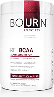 Bourn Relentless RE+ BCAA Natural Acai Blueberry Pomegranate (30 Servings) with 5g Fermented Branched Chain Amino Acids, n...