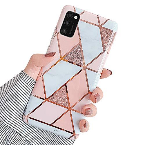 Surakey Marmor Hülle für Samsung Galaxy A41 Hülle Handyhülle Glitzer Marmor TPU Silikon Hülle Dünn Case Marble Schutzhülle Handytasche Handy Hülle für Galaxy A41,Rosa