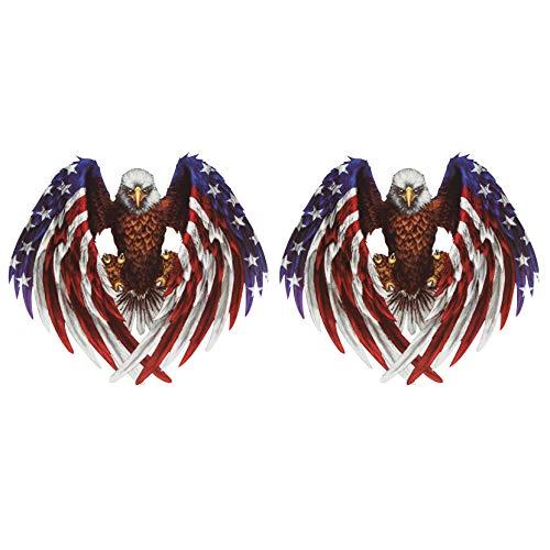 HALJIA 3D-Aufkleber, kreatives amerikanische Flagge und Bald Eagle Design, Simulation, Auto-Aufkleber, Motorrad, Skateboard, Fahrrad, Auto, Stoßstange, Fenster, wasserdicht, reflektierend, 2 Stück