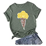 Damen Sommer T-Shirt Kurzarm O-Ausschnitt Locker Bluse Top Casual Schwarz/Grün/Weiß/Grau Einfarbig...