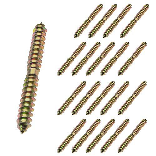 20 tornillos M8 x 80 mm de doble extremo de madera a madera para fijar muebles...