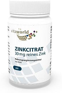 Citrato de Zinc 30mg de puro Zink 60 Cápsulas - Vita World Farmacia Alemania Zn