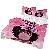 Superartvibe 3 Pcs Set Kids Bedding Set African American Black Girl Customizable Name Red Duvet Cover Sets Gifts for Teens and Girls