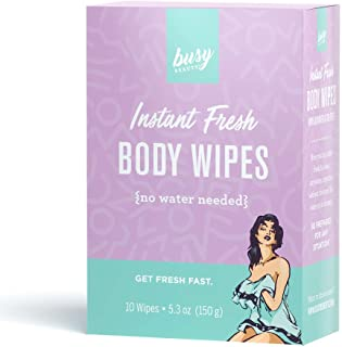 Busy Beauty | Showerless Body Wipes | 10 Individually Wrapped Single Use Wipes