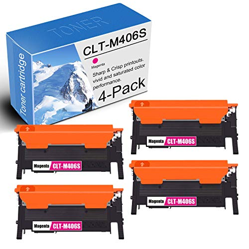 4PK-Magenta Compatible CLT-M406S Toner Cartridge Replacement for Samsung Xpress C46x C410W C460W C463W/C463F CLP-365 360 CLX-3300 3305 3305FW 3305FN Printers Toner Cartridge.