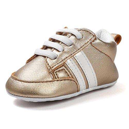Turnschuhe Babyschuhe Neugeborenen Leder T-Strap Schuhe Sportschuh Jungen Lauflernschuhe Mädchen Krippeschuhe Krabbelschuhe Streifen-beiläufige Wanderschuhe LMMVP (Gold, 13CM (12~18 Monate))