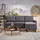JY QAQA Convertible Sectional Sofa Couch with Reversible Chaise, L-Shaped Ottoman Couch with Modern Linen Fabric for Small Space (Dark Grey)