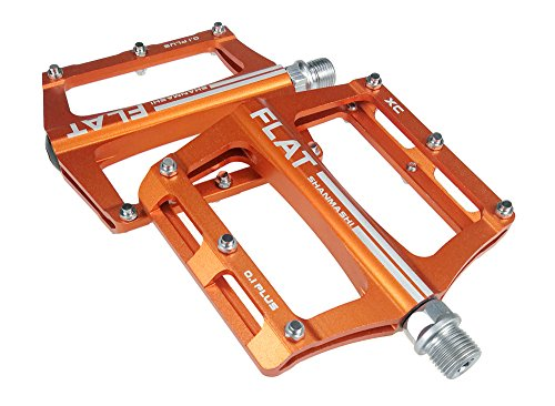 UPANBIKE Mountain Bike Bearing Pedals 9/16 inch Spindle Aluminum Alloy Flat Platform for BMX MTB Road Bicycle (Orange)