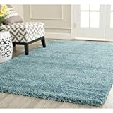 FB FunkyBuys Modern Soft Touch Shaggy Thick Luxurious Duck Egg Blue 5 cm Dense Pile Bedroom Rug -Available in 5 sizes (80 x 150 cm)