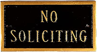 product image for Montague Metal Products 5.75 by 3-Inch No Soliciting Plaque, Petite, Black/Gold