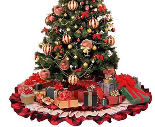 Biaolang Adornos para El Fondo del Árbol De Navidad A Cuadros Rojos De Algodón Y Lino 116cm