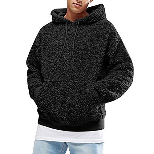 Sudadera con capucha para hombre, de forro polar, de manga larga, con bolsillo delantero, para otoño e invierno, con capucha, color negro, talla L