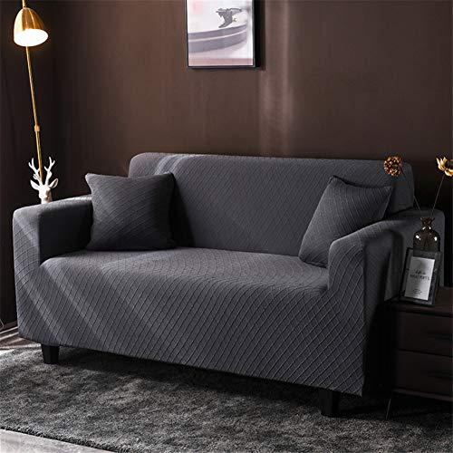 wjwzl Chaiselongue-Sofaüberwurf, elastisch, rutschfest, für Wohnzimmer, Schlafzimmer, Sofa, Grau, 1 W, (2 Sitze)+(2 Sitze)