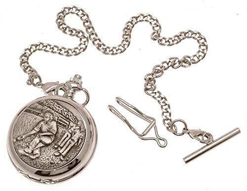 Grabado Incluido–Reloj de bolsillo color sólido peltre Fronted mecánico esqueleto reloj de bolsillo–diseño de bolos para hombre 33