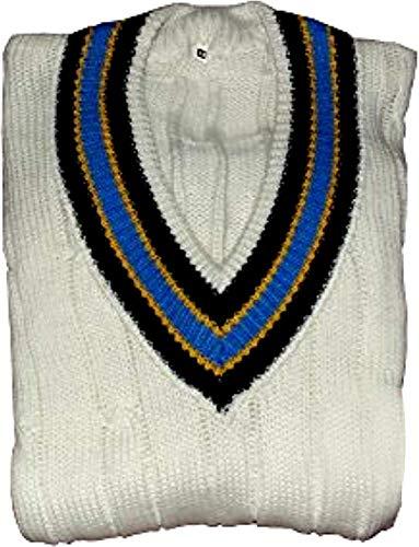Herren – Jungen Cricket-Pullover Sport Spielpullover Top V Ausschnitt Schwere Wolle Weiß Rand Solide Design Wählen (ärmellos oder langärmelig) (38, langärmelig)