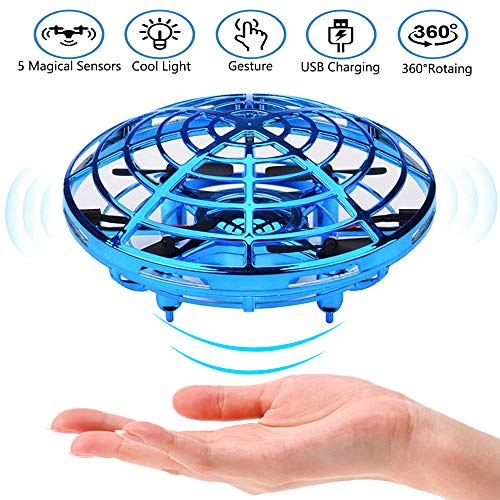 Hand Operated Drone for Kids Adults Mini Drones with 5 Magical Sensors and LED Lights Hand Free Kids Drone for Boys and Girls Self Flying Drone (Blue)