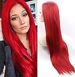 ATAYOU® 24 Inches Rot Lange Gerade Lace Front Perücke Hitzebeständige Synthetische Perücken für...