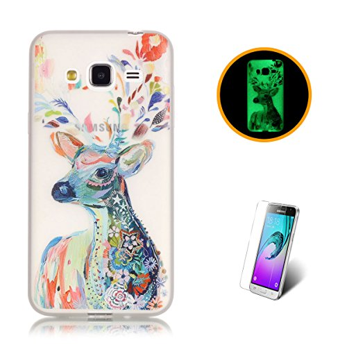 CaseHome Compatible For Samsung Galaxy J310/J3 (2016) Luminoso Funda Gel de Silicona Suave Transparente TPU Caucho Proteccion Espalda Caso CubrirEstuche Cubierta-Acuarela Ciervo