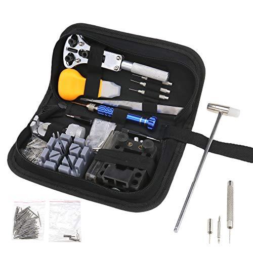 144PCS Guardare Tool Kit di Riparazione Professionale, Regolazione Posteriore orologiaio di rimozione Opener Spring Bar Pin Set e Custodia per Il Trasporto