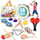 Toddler Educational & Musical Percussion for Kids & Children Instruments Set 18 Pcs – With Tambourine, Maracas, Castanets & More – Promote Fine Motor Skills, Enhance Hand To Eye Coordination,