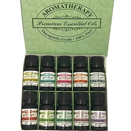 Top Essential Oil Gift Set - Best 10 Aromatherapy Oil - Eucalyptus, Peppermint, Lemongrass, Rosemary, Lavender, Frankincense, Orange, Tea Tree, Clove, Cinnamon -Therapeutic Grade 10 mL by Sponix