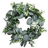 ManYin G Corona de eucalipto artificial verde naturaleza llena de vida guirnalda de plástico para decoración pared/ventana/puerta, NC042