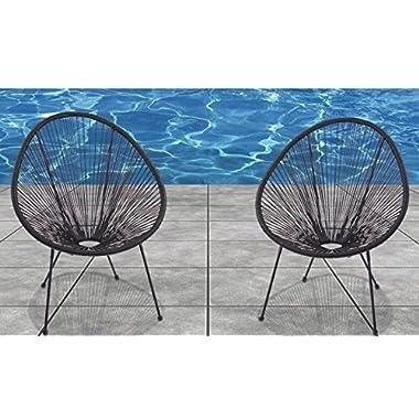 Acapulco Chair All Weather Resort Grade Outdoor Patio Sun Chair 2 Piece Set, Papasan Chair(Black)