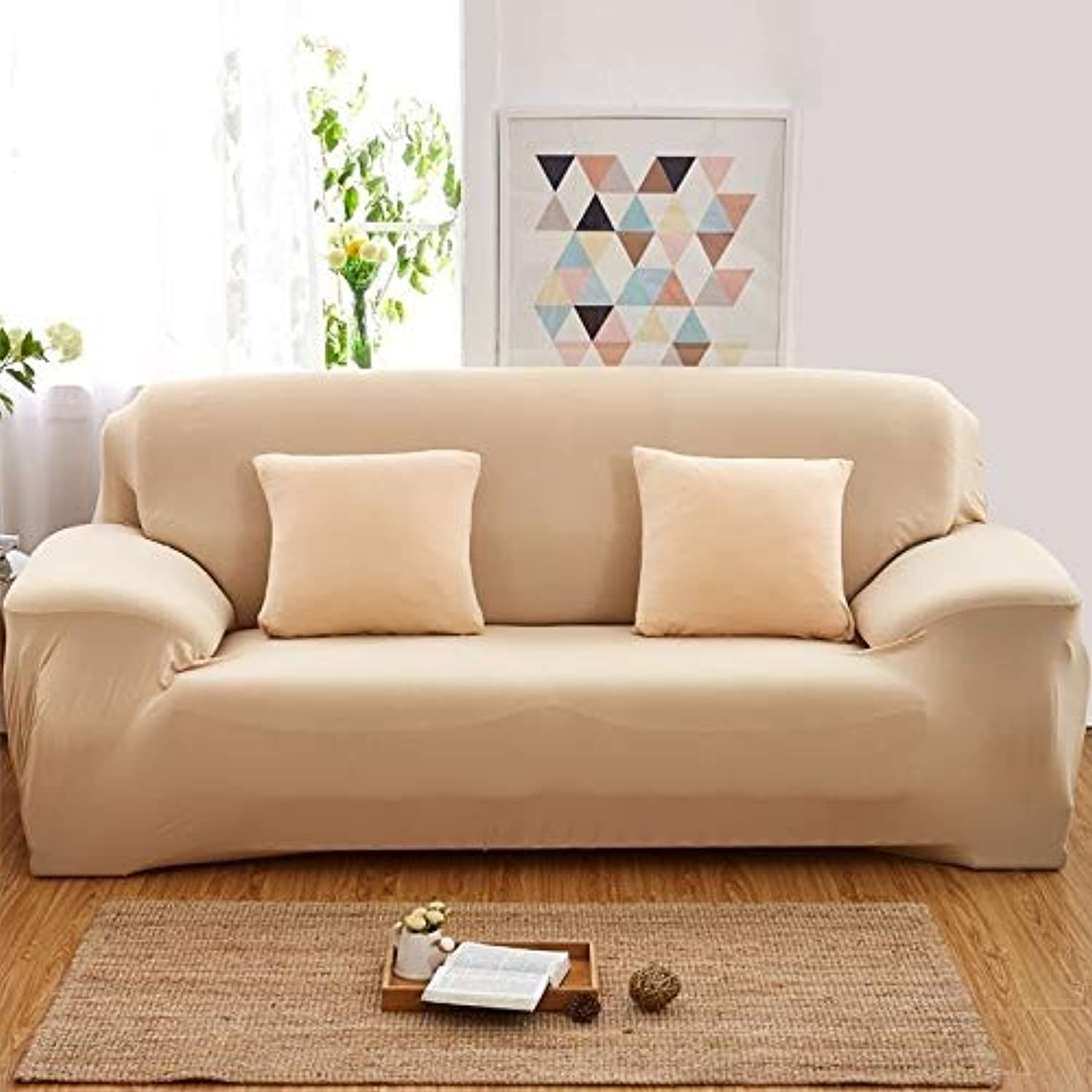 2 pcs of 1 2 3 4 Seater Solid Sofa Cover Spandex Modern Elastic Polyester Couch Slipcover Chair Furniture Predector Living Room 24 colors