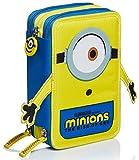 astuccio 3 scomparti minions, the rise of gru, giallo e blu, portapenne con contenuto per la scuola