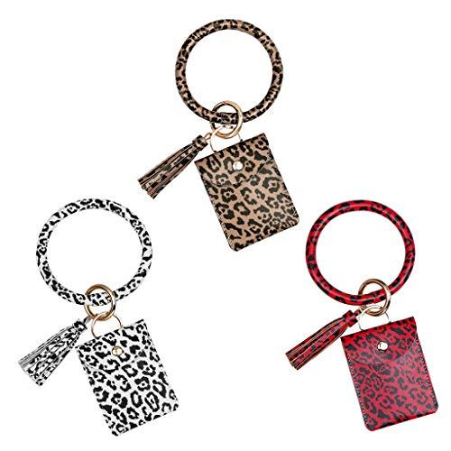 GREEN&RARE Llavero con estampado de leopardo, pulsera de piel sintética de 3 colores, monedero de moda, tarjeta con borla para mujer, ideal para el día de San Valentín, regalo de un amigo