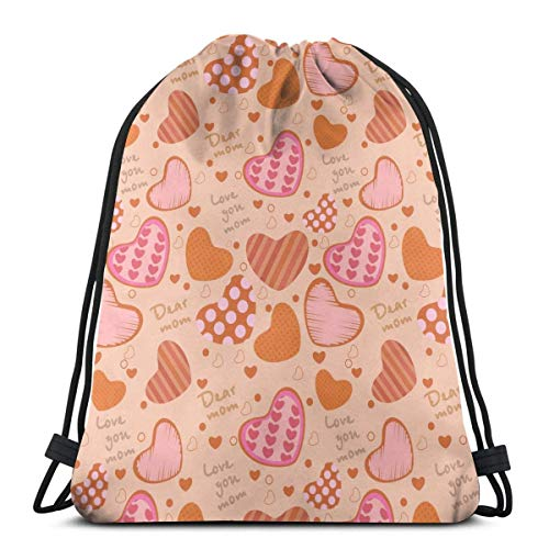 GeorgoaKunk Zaino con Coulisse Love Heart Mom 3D Print String Bag Sackpack Cinch Tote Bags Regali per Donna Uomo Palestra Shopping Sport Yoga