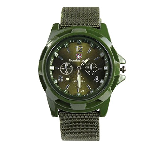Siviki Wrist Watches, Luxury Fashion Gemius Army Racing Force Military Sport Men Officer Fabric Band Watch (Green)